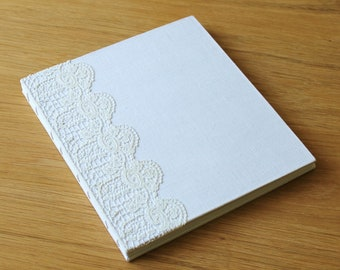 Large Coptic Bound Guest Book Journal with Cream Vintage Linen and Floral Vintage Lace