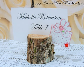 12 small rustic place card holders, tree card holders, place holders, rustic wedding decor, wood place card holder, rustic wedding supplies