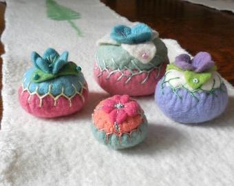 pincushion / hand embroidered / merino felt pincushion / size small A / green, peach and pink