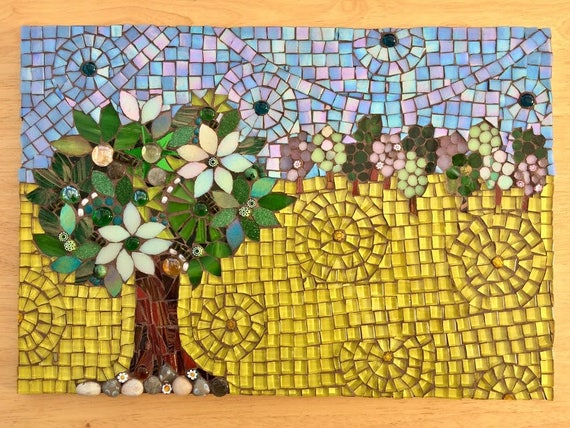 Handmade glass and pebbles trees mosaic picture Unique gift idea Home decor  'Easter Field' Mosaic wall art