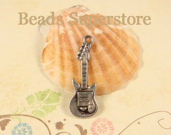 30 mm x 11 mm Antique Silver Electric Guitar Charm / Pendant - Nickel Free, Lead Free and Cadmium Free - 8 pcs (CH57)