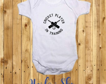 100% White Cotton Baby Vest/Grow With Cricket Player In Training Print *Baby Shower*Gift*Newborn*
