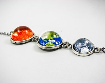 Space necklace, Sun Earth Moon necklace, Solar system, Galaxy necklace, Planet necklace, Universe necklace, Silver, Sun Earth Moon jewelry