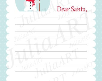 cartoon letter to santa with cute snowman and broom