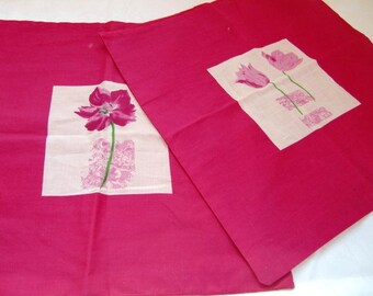 French  vintage pink cushion covers ,pillow covers,with pink flowers Housewares Home and Living