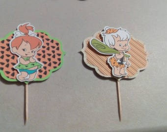 Bam bam and pebbles/ Personalized Cupcake Toppers