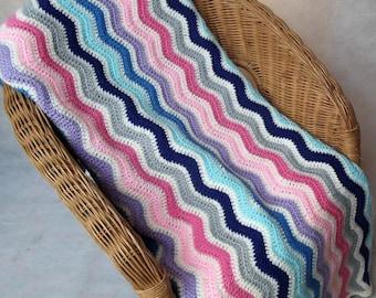 Large handmade rectangular crochet ripple blanket in unicorn stripes 165 x 115 cm