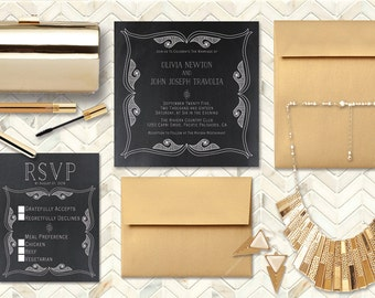 Art Deco Wedding Invitations w/ Gold Envelopes / PRINTED Square Wedding Invitation & RSVP Cards / Chalkboard Invites / Gatsby Gold Weddings