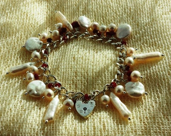 Everlasting Love Sterling Silver Ruby Charm Bracelet