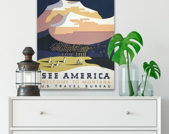 CANVAS See America WPA Poster, Canvas Wall Decor, Vintage Travel Poster, Vintage Wall Art, Mountain Landscape, Retro Wall Art (WPA12)