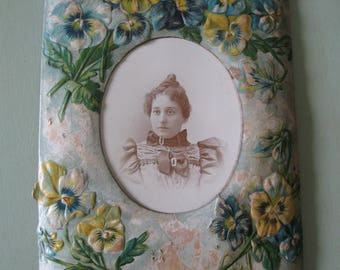 Pansy Frame and Antique Photo - Victorian Style and Instant Relative