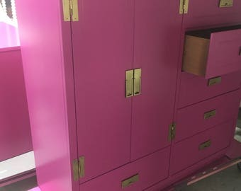 hot pink/Raspberry  campaign style chest /Bureau / armoire / brass hardware /tons of storage