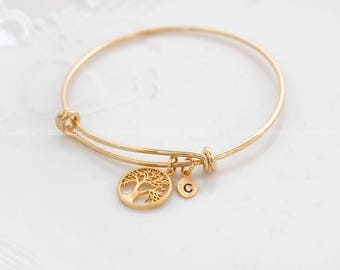 Family Tree Bracelet, Mothers Day gift, Personalized initial bangle bracelet, Gift for Grand MOM, Mother GIFT,initial bracelet,Leaf initial