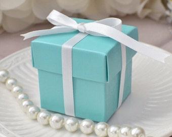 Mini Square Favor Box with Lid (10 Count) - Paradise Blue - Wedding Supplies Unique Wedding ideas Reception theme ideas