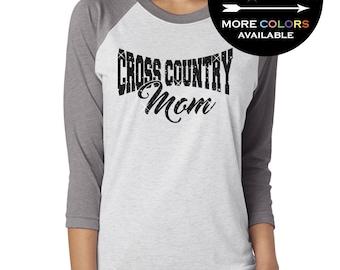 Cross Country Mom Shirt 3/4 length Baseball Triblend Tee for Women GLITTER, cross country mom, coach Plus Sizes ( Black Glitter)