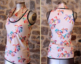 T Shirt tank top, pink peach flowers multicolored flame. Sleeveless Cotton Jersey top.