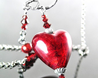 Red Heart Necklace, Murano Glass Necklace, Sterling Silver Necklace Venetian Glass Ruby Red Heart Pendant Necklace Valentine's Day Jewelry