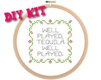 Tequila funny cross stitch DIY Kit