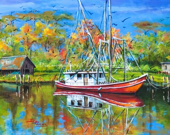 Louisiana Shrimp Boat Art, Louisiana Shrimp Boat Painting, Louisiana Bayou Art, Fishing Painting Gift, GICLÉE Canvas or Print FREE SHIPPING