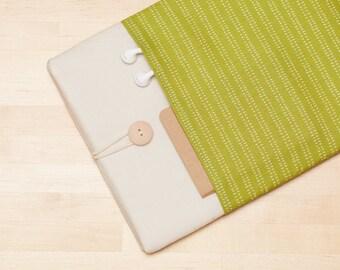 MacBook sleeve 12 inch case /  11 inch laptop sleeve, MacBook 12 sleeve / 12 inch MacBook cover /  padded with pockets - Green lines -