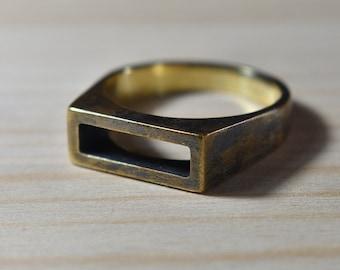 Mens Antique Brass Wedding Ring. Antique Brass Ring for men. Mens Antique Rings. Geometric Mens Brass Ring. Minimalist Mens Brass Ring