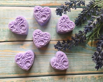 12 baby shower favors Baby shower soap favors, mini guest soaps, favors Lavender soaps Mini Guest Soaps 12 Mini hearts Heart shaped soap