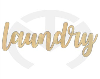 Unfinished Wood Calligraphy Script Word Laundry Laser Cut, Large Sizes, Home Decor, Farmhouse