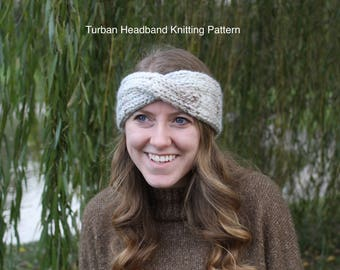 KNITTING PATTERN - Turban Headband Knitting Pattern PDF, Ear Warmer Knitting Pattern