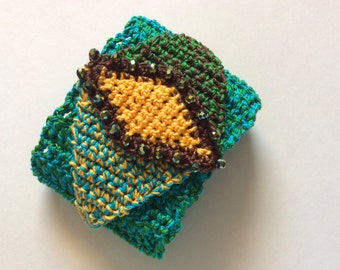 Original Crocheted Turquoise Cuff with a Beaded Gold Yellow Diamond Shaped Center
