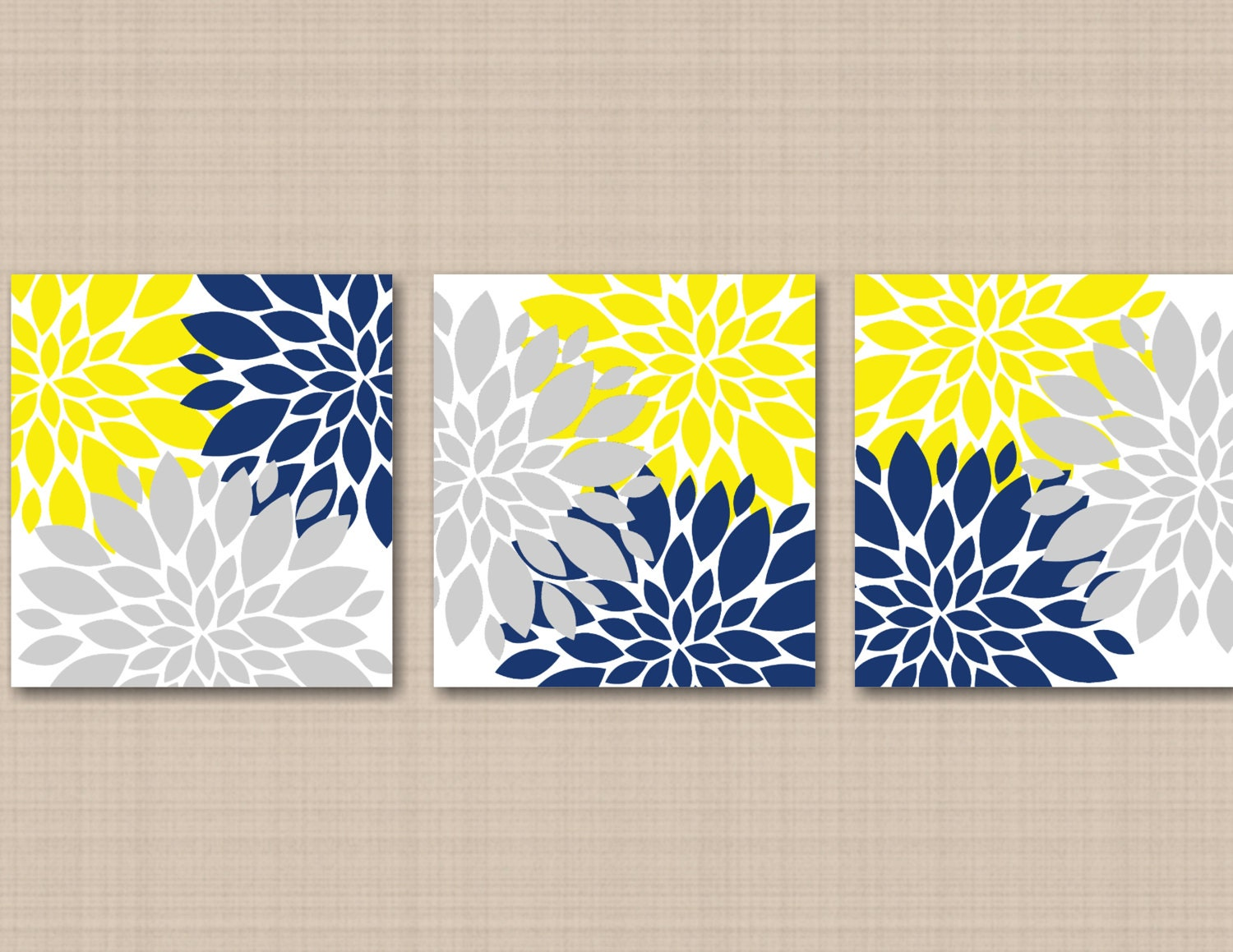 Yellow Navy Blue Gray Floral Wall Art Gray Navy Yellow Wall