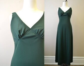 1970s Forest Green Maxi Dress