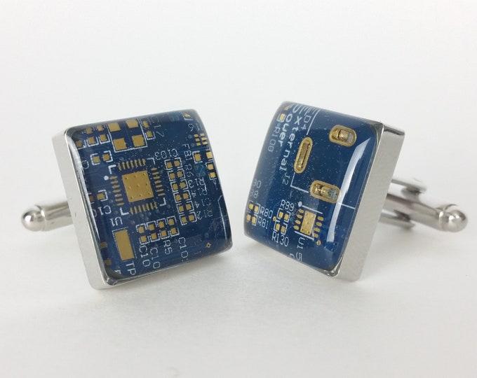 Blue and Gold Circuit Board Cufflinks - Handmade Cufflinks  w/ Recycled Technology - Silver Plated - Choose Round or Square