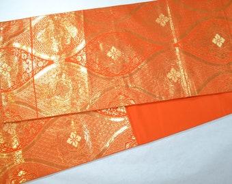 Vintage Japanese Silk Obi belt in fabulous orange and gold metallic - wavy stripe and chrysanthemum pattern