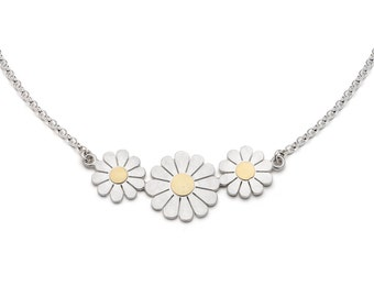 Daisy flowers necklace, Silver daisy necklace, Daisy necklace, Floral necklace, Daisy necklace, Gold daisy necklace