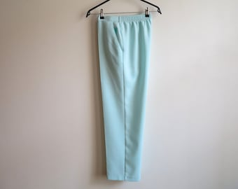 Vintage 1980s Womens Pants Turquoise Blue Pants Elastic Waist Trousers High Waisted Pants Medium Size