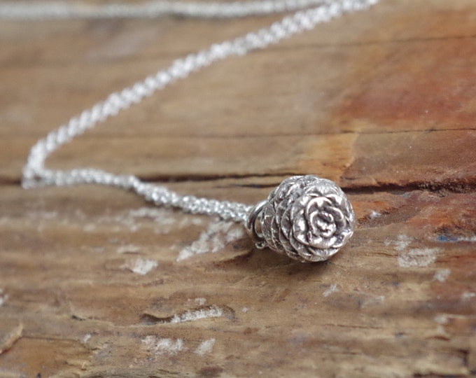 Pine Cone Necklace Small Necklace Everyday Necklace Botanical Jewelry Sterling Silver Pendant Woodland Gifts for Mom