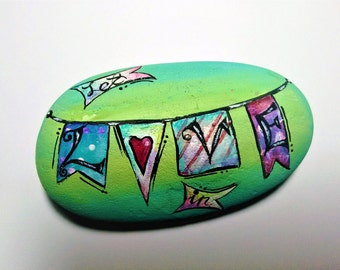 Let Love In - hand-painted rock, aqua and green, for giving and for getting, love quote