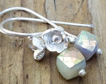 Mystic Dendritic Opal Earrings and Hill Tribe Silver, Mystic Cream Opal Cube, Sterling Silver, Pierced Earrings, Flower Earring