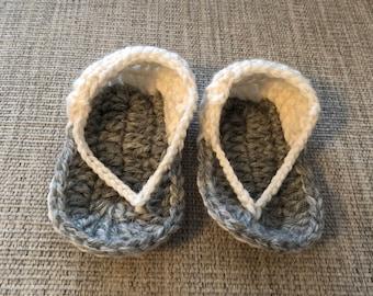 Knitted cute flip-flops