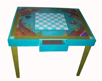 WHIMSICAL FURNITURE   Games Table   Parchesi Table   Checkerboard Table    Chess Table   Funky Table   Custom Table   Painted Furniture