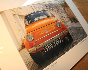 Fiat 500, Park Circus, Glasgow, signed mounted print 30 x 40cm - classic car - Stuart Brown Photography- Scottish Gift - photograph -