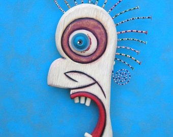 OMG, Original Wood Wall Sculpture, Wood Carving, Wall Decor, Figure Sculpture, Found Object Art, by Fig Jam Studio