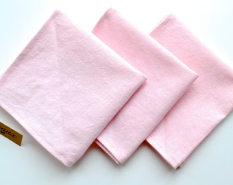 Pale Blush Pink Linen Pocket Squares