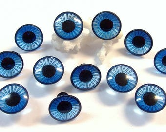 16mm Blue Doll Eyes VINTAGE Plastic EYES Crystal Cut Rimmed Six (6) Pairs Owl Eyes Vintage Doll Parts Jewelry Doll Making Supplies (T251)