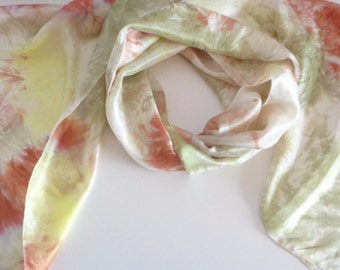 green silk scarf hand painted silk scarf hand dyed silk scarf mother gift long silk scarf women silk gift SilkScarvesParis