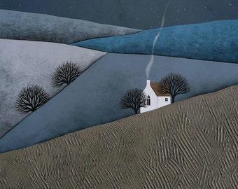 The Quiet of the Night 8 - 8x10 Contemporary Winter Landscape Art Print - by Natasha Newton