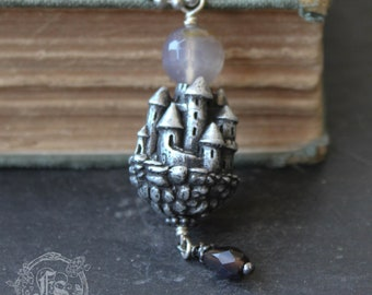 Floating Castle Pendant. Dark Fairytale Long Necklace for a Gothic Pagan Wiccan Arianrhod.