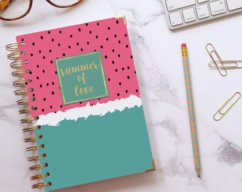 Bujo ~ Dot grid notebook ~ Personalised journal ~ Spiral notebook ~ Journal ~ Gifts for her ~ Watermelomoji - Hoard Pretty Things Colour Pop