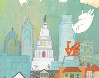 Hello Philadelphia! - Signed Art Print City of Philadelphia, bunnies, hot air balloons