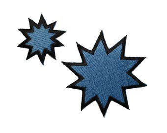 ID 3462AB Set of 2 Comic Explosion Symbol Patch Embroidered Iron On Appliques